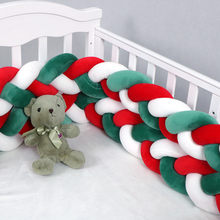 Christmas Style Newborn Bed Bumper DIY Weave Long Knotted Braid Pillows Baby Bed Bumpers Knot Cotton Crib Infant Baby Room Decor(China)