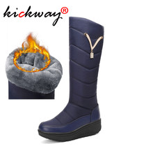 Women Knee High Snow Boots Warm Platform Boots Women Black Red Blue Thick Plush Warm Winter Shoes Booties Large Size 35-44(China)