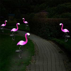 Solar Power Beautiful Pink Flamingo Lawn Decor Garden Stake Landscape Lamp Outdoor Light