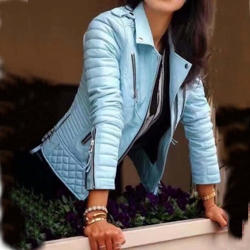 Blue Faux Slim Leather Jackets 2020 Spring Fashion Lady Motorcyle Zipper Biker Coat Streetwear Women Jacket
