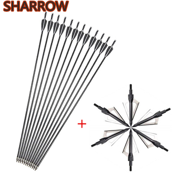 12pcs Archery Fiberglass Arrows 30 Spine 500 Hunting Target Practice Replacement Arrowhead Shooting Accessories