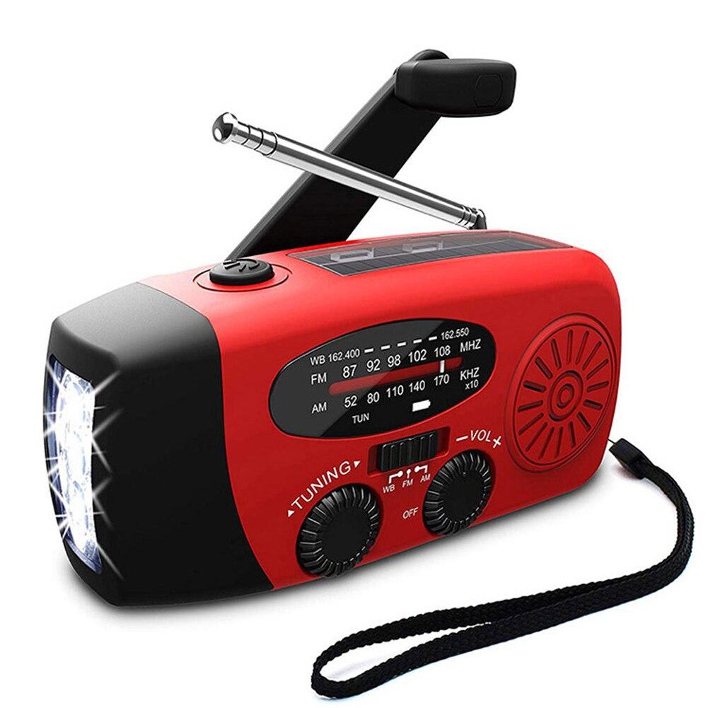 Многофункциональный ручной радиоприемник на солнечной батарее с Динамо-питанием ed AM/FM/NOAA, радио для погоды, аварийный светодиодный фонарик ...