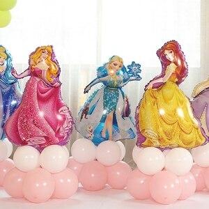 Image 1 - 12 adet 93*55cm kar beyaz Elsa beş prenses doğum günü rakamlar folyo balonlar şişme doğum günü partisi dekorasyon helyum balonları
