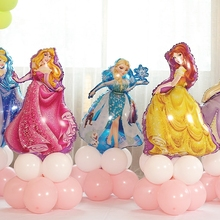 12PCS 93*55cm Snow White Elsa Five Princess Birthday Figures Foil Balloons Inflatable Birthday Party Decoration Helium Balloons