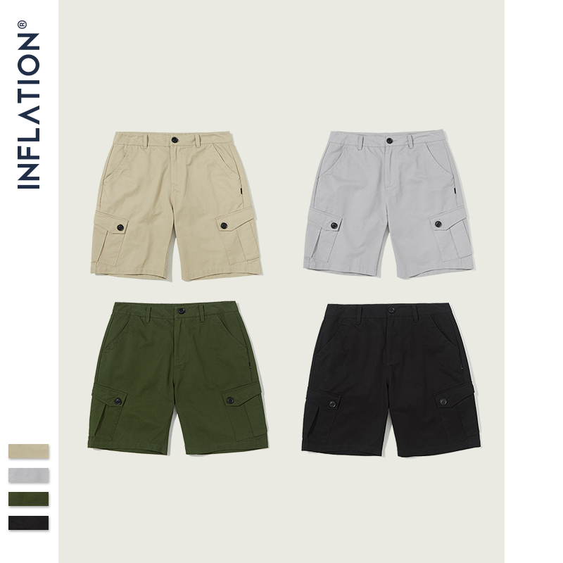 INFLATION 2020 New Men's Loose-fit Casual Shorts Hip Hop Fashion Style Men Shorts Street Wear Pure Color Male Shorts 9320S