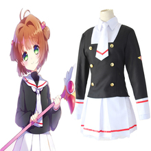 цена на Anime Cardcaptor Sakura Cosplay Costumes Sakura Kinomoto Cosplay Costume School Uniforms Halloween Party Women Game Costumes