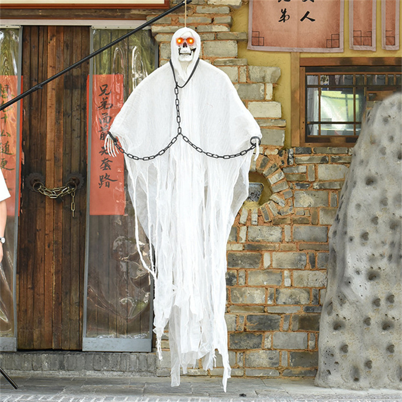 Scary Halloween Party Props White Electric Ghost Scary Halloween Hanging Ghost Bright eye Voice Control Halloween Decoration