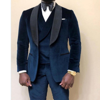 3 piece Velvet Prom Men Suits for Wedding Prom Custom Made Groom Tuxedos 2020 Man Fashion Clothes Set Jacket Vest with Pants