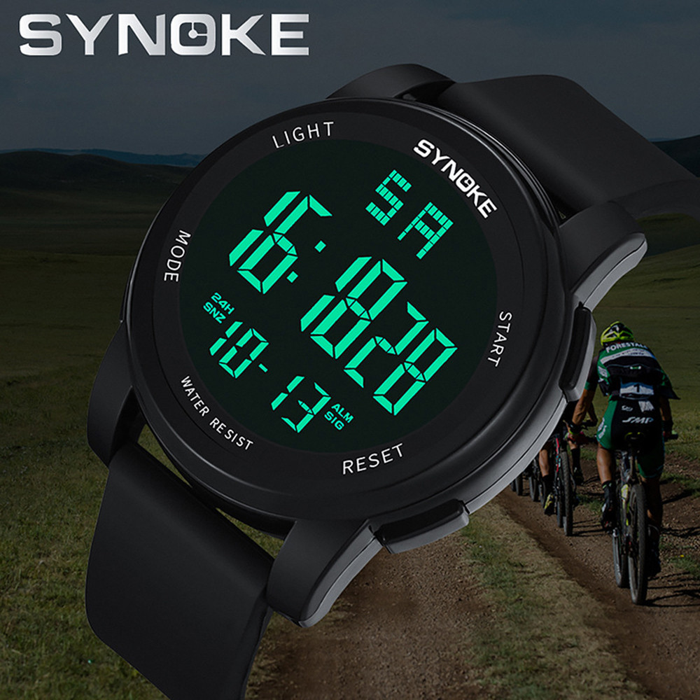 SYNOKE Men's Watches Multi Function Military Sports LED Digital Dual Movement Reloj Hombre Deportivo Watch Man 2019 Reloj Led