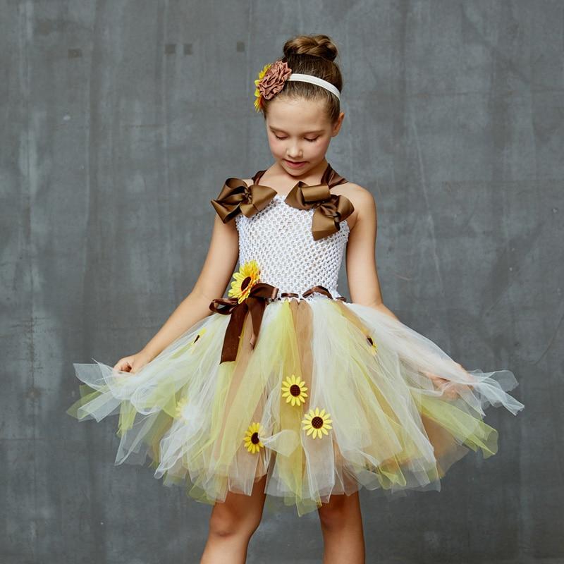 Sweet Sunshine Sunflower Tutu Dress with Matching Headband Flower Girl Bridal Birthday Pageant Costume Kids Autumn Dresses (6)