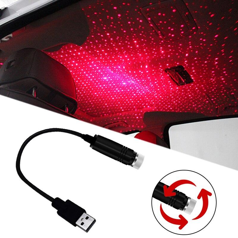 USB светодиодный декоративный светильник на крышу автомобиля Звездный ночной Светильник-проектор гибкий Регулируемый несколько светильник...