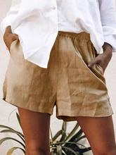 Женские хлопковые и льняные короткие брюки оверсайз повседневные