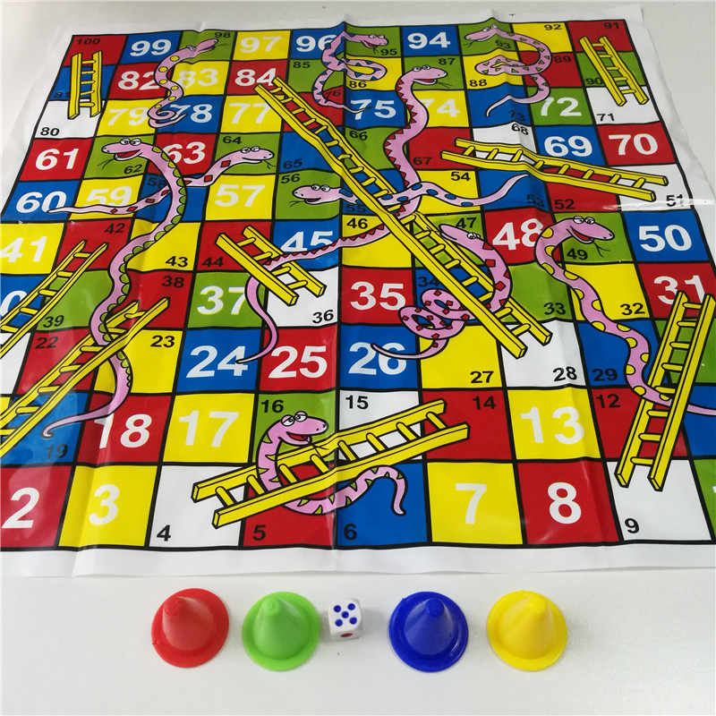 Children Snake Ladder Plastic Flight Chess Set Portable Board Game Funny Family Party Games Toys for Kids