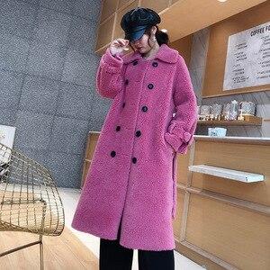 Image 5 - Женское пальто из овечьей шерсти [DEAT], черное пальто из овечьей шерсти с отложным воротником и поясом, с длинным рукавом, толстое, с поясом, AI773, зима 2020