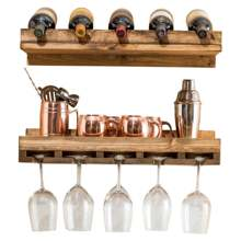 Rustic wood wall-mounted hand-layered wine glass holder 2 layer