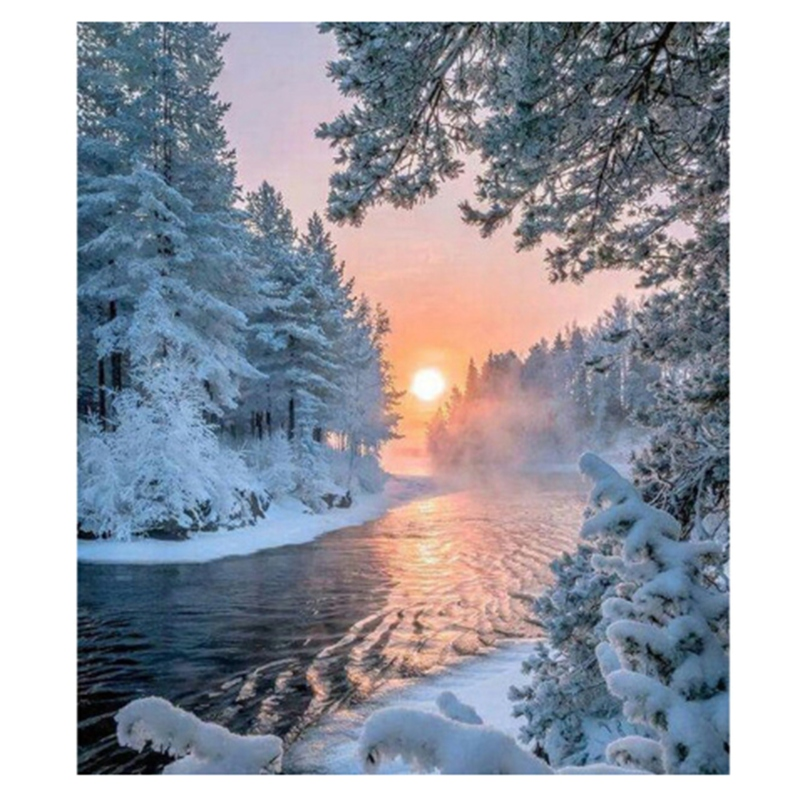 Diamond Painting Diy Snow Scenery 100% Full Diamond Embroidery 5D Cross Stitch Holiday Gift