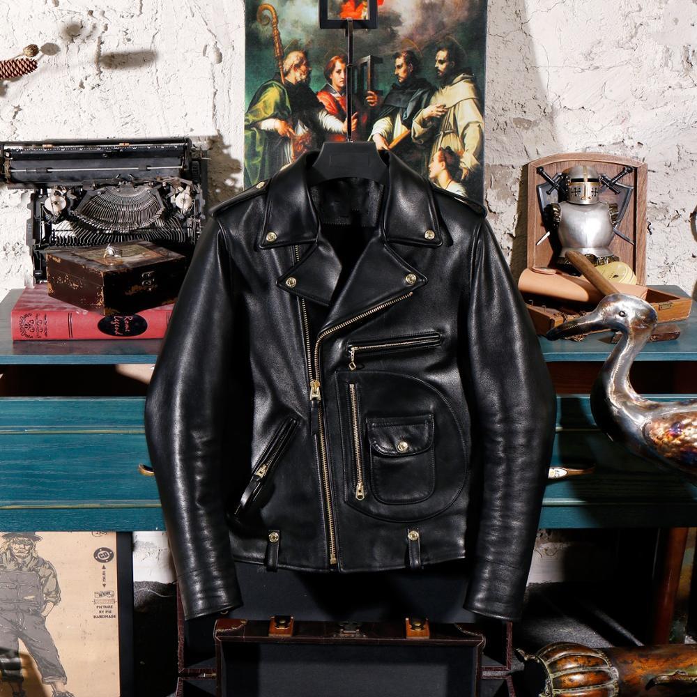 2020 Black Men 1950's J-24 Biker's Jacket Plus Size 3XL Import Genuine Cowhide American Motorcycle Slim Fit Leather Coat