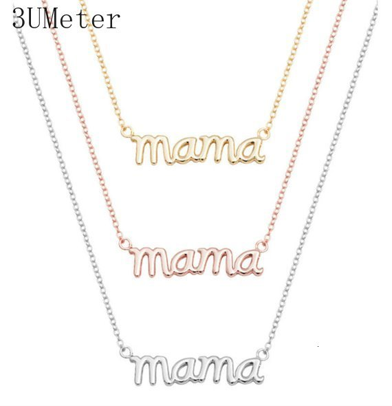 3UMeter Small Mama Mom Mommy Letters Necklace Stamped Initial Love Alphabet Mother Necklaces for Thanksgiving Mother's Day Gifts image