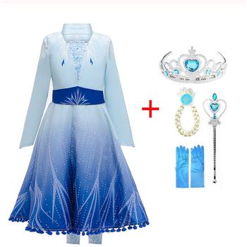 2020 New Anna Elsa 2 Dress Girls Princess Set Christmas Cosplay Elza Birthday Party Sky Blue Princess Dress For Kids Vestidos baby girls dress christmas anna elsa cosplay costume summer dresses girl princess elsa dress for birthday party vestidos menina