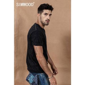 Image 3 - SIMWOOD 2020 קיץ חדש צבע כותנה חוט דוט מחשוף חולצה גברים חולצות באיכות גבוהה בתוספת גודל מותג בגדי 190475