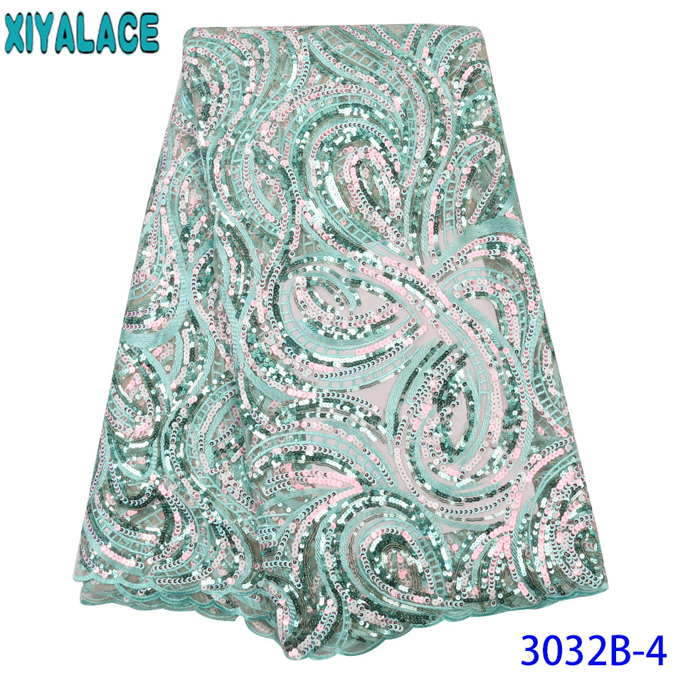 Mint Green African Sequin Lace Fabric 2019 High Quality Lace Hot Sale Fabric Lace Net With Colorful Sequence For Party KS3032B