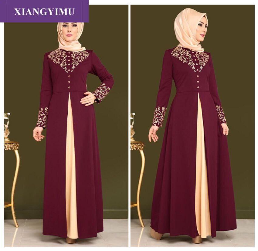 F468 Kaftan Dubai Abaya Robe Muslim Hijab Dress Abayas For Women Caftan Marocain Qatar Elbise Turkish Islamic Clothing
