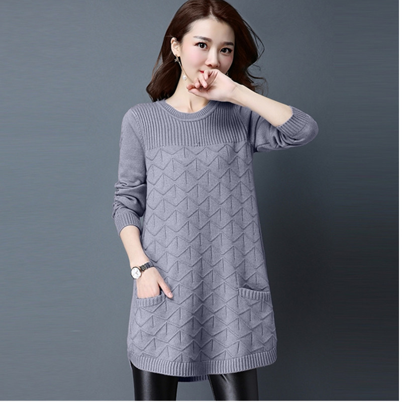 Knitted Sweater Plus-Size Pocket Casual Pullover Jumper Women O-Neck Loose Fashion
