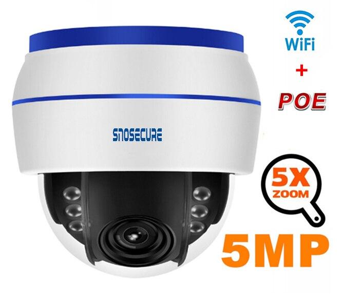 SNOSECURE H.265 Wifi caméra IP 5MP 5X Zoom enregistrement Audio caméra de vidéosurveillance Vision nocturne sécurité Surveillance vidéo ONVIF P2P POE