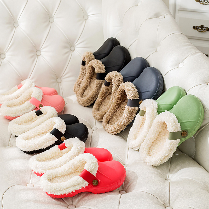 Winter Warm Slippers Men Indoor Shoes Cotton Pantoffels Casual Crocus Clogs With Fur Fleece Lining House Floor Slippers ME526 4