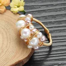 New Ring Natural Baroque Freshwater Pearl Rings For Women Wedding Gift Original Design Handmade Ring Pearl Fine Jewelry(China)