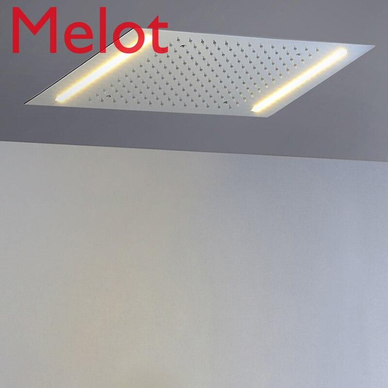 LED pomme de douche 500*360mm intégré plafond monté pomme de douche salle de bains lumières douche 304 SUS poli besoin de puissance