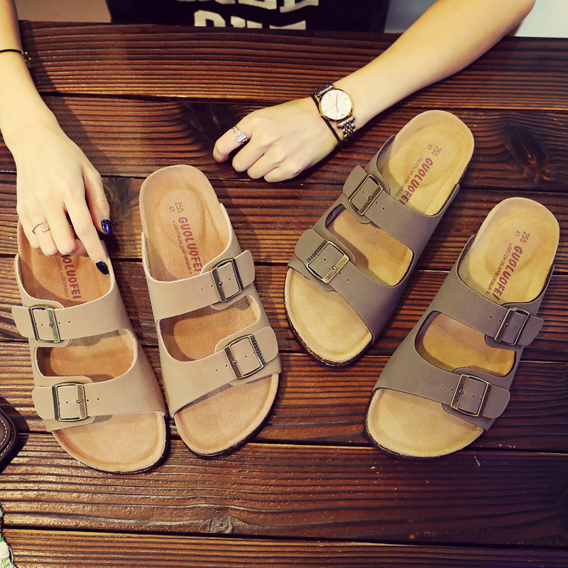Fast Shipping Men's PU Leather Sandals Slippers High Quality Soft Cork Two Buckle Slides Footwear For Men