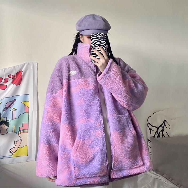 Reversible Clothes Winter Jacket Women Lamb Plush Coat Zipper Stand Collar Pink Purple Tie Dye Print Loose Jacket Parka Oversize