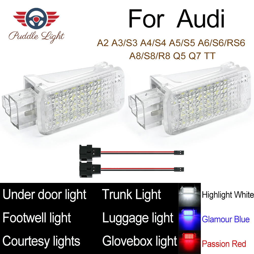 Door Welcome Interior LED Light Courtesy Lamp Under Door Footwell Trunk Luggage Reading Light For <font><b>Audi</b></font> A1 A3 A4 A6 <font><b>A8</b></font> Q7 Q5 TT image
