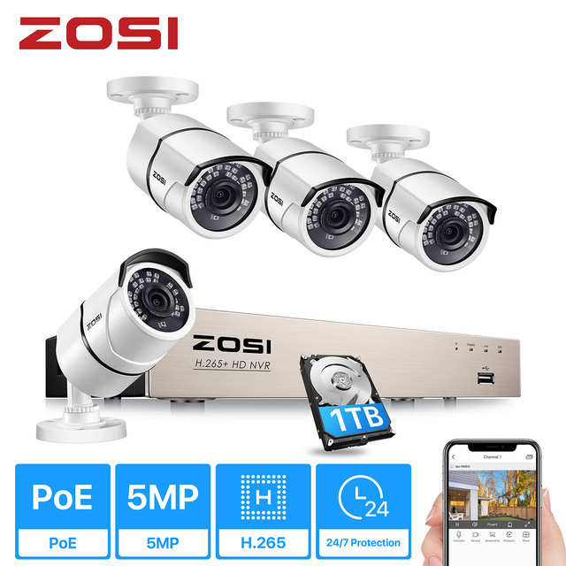 ZOSI H.265+ 8CH 5MP POE Security Camera System Kit 4PCS 5MP HD IP Camera Outdoor Waterproof CCTV Home Video Surveillance NVR Set