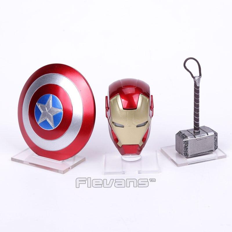 Avengers 2 Iron Man MK43 LED Light Helmet Captain America Shield Thor Hammer With Acrylic Base Mini Action Figure Toys