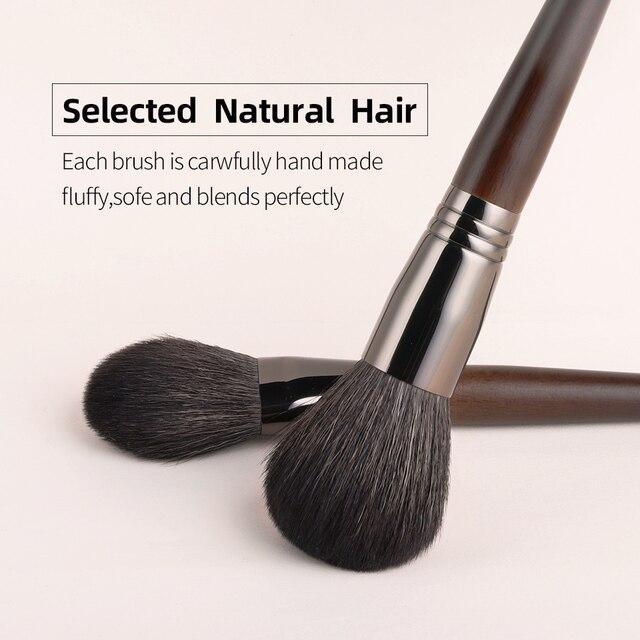 OVW Set de pinceles de maquillaje natural Pincel de maquillaje de sombra de ojos Kit de cepillo de polvo facial de pelo de cabra Herramienta de pliegue cosmético profesional 4