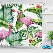 Tropical Plants Shower Curtains High Quality Bathtub Decor Leaves Flamingo Bathroom Curtain Waterproof Polyester Fabric Washable