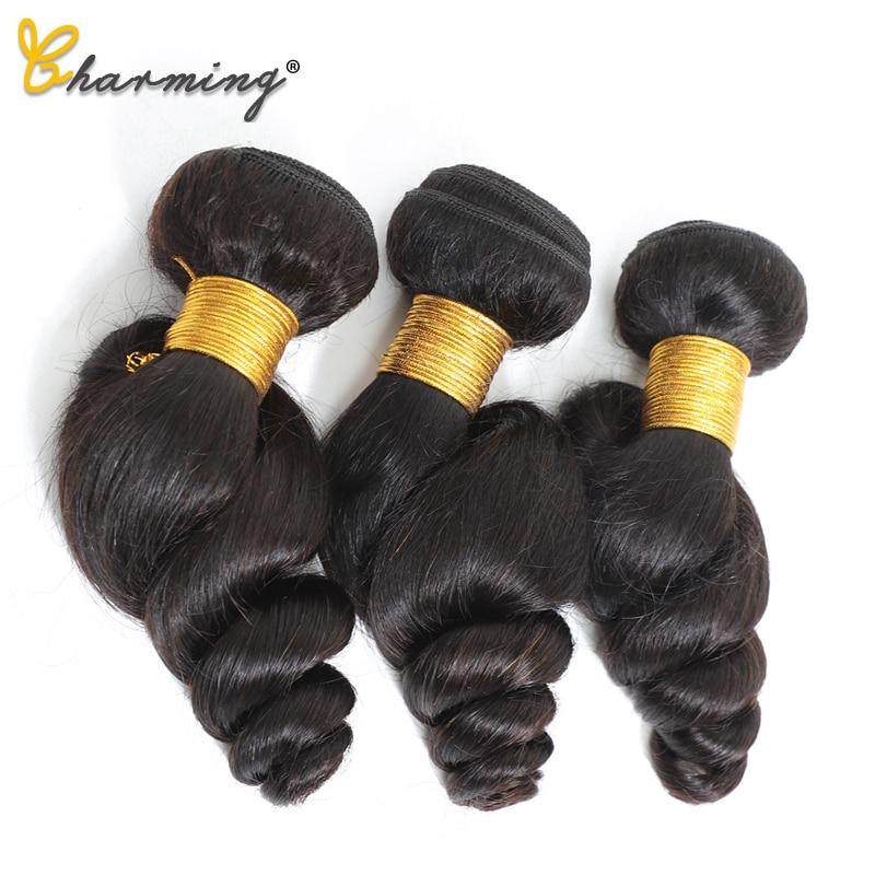 CHARMING Loose Wave Bundles Brazilian Hair Weave Bundles Wonder Beauty Human Hair Bundles Non Remy Hair Extension 8-28 Inch