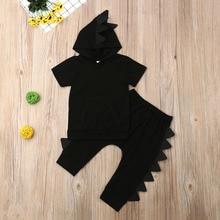 Комплект одежды с динозавром для маленьких мальчиков, г. Летняя однотонная черная футболка с капюшоном и короткими рукавами для новорожденных топы, штаны, брюки, комплект из 2 предметов