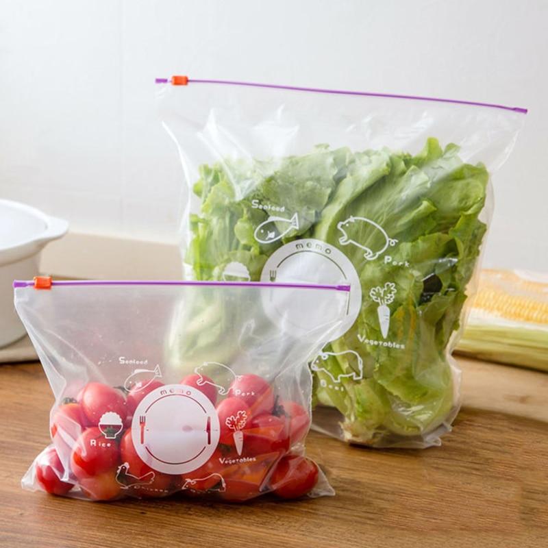 Герметичный пакет для сохранения свежести овощей и фруктов, замораживающий пакет на молнии, 10 шт.