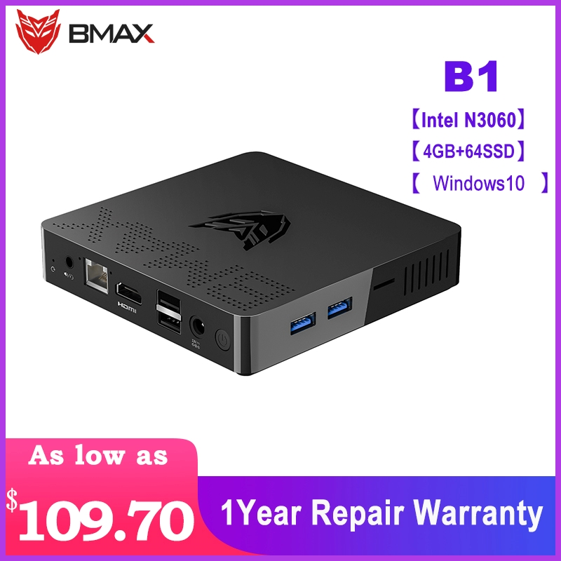 Bmax B1 Mini PC Intel Celeron N3060 Dual Core 1.6GHz Up To 2.4GHz 4GB LPDDR3 64GB EMMC Intel HD Graphics Wifi Bluetooth