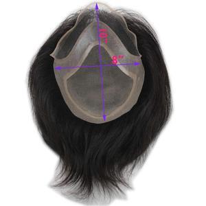 Image 5 - Peluquín de pelo PU para hombres con pelucas de cordones franceses para hombres europeos Remy sistemas de repuesto de cabello humano horquilla 10x8 pulgadas