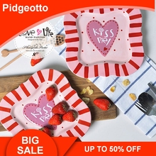 Pink Heart Shaped Ceramic Dessert Plates Creative Cute Loving Dining Dishes Plate Tableware Gift free shipping