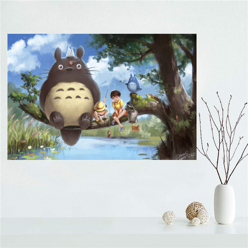 Silk Poster Totoro My-Neighbor Decoration Cloth-Fabric Canvas Painting Wall Bedroom Custom