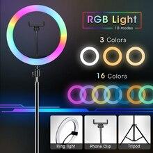Rgb Ring Licht Met Statief Telefoon Clip Selfie Kleurrijke Fotografie Verlichting Voor Vlogging Youtube Korte Video Live Photo Studio