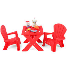 3 PCS Kids Table &Chair Set Plastic Children Studying Play Table Classroom Red