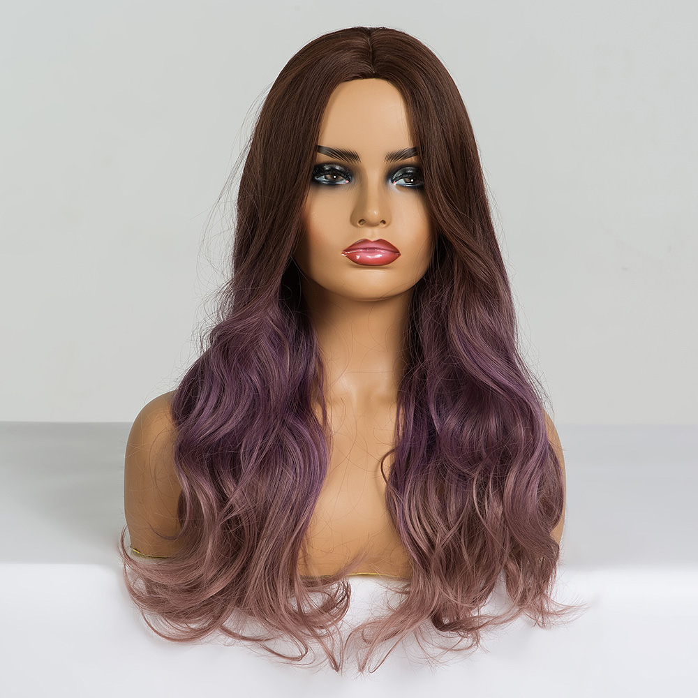 Image 5 - ALAN EATON Long Wavy Cosplay Wig Brown Purple Ombre Synthetic Hair Wigs Heat Resistant Fiber Middle Part Wigs for Black  WomanSynthetic None-Lace  Wigs   -