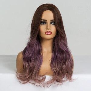 Image 5 - EATON perruque synthétique pour Cosplay longue ondulée marron, violette, ombré, perruques en Fiber résistante à la chaleur pour femmes noires