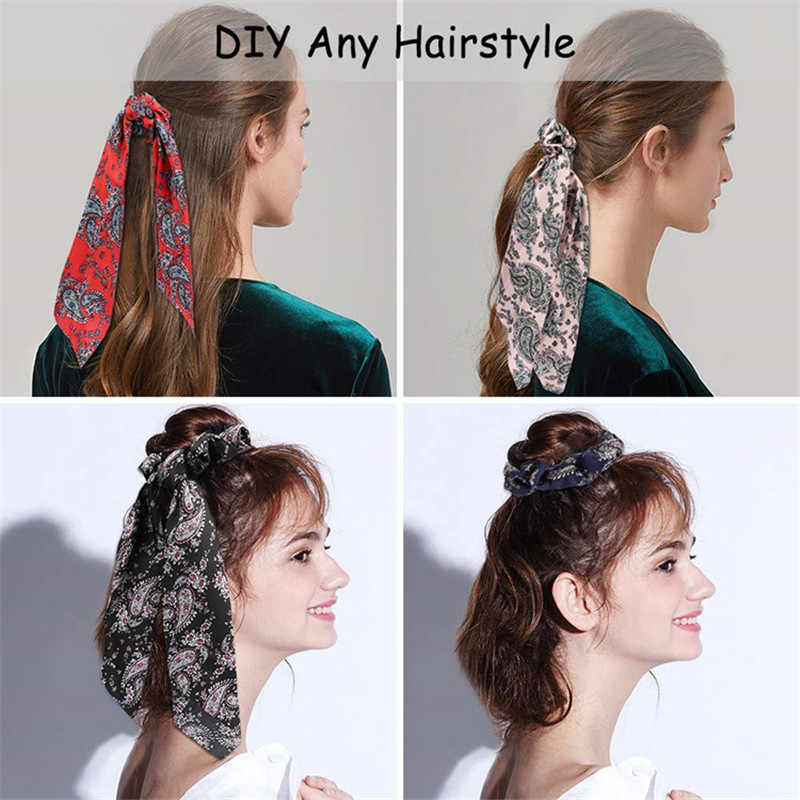 MINHIN פרחוני הדפסת פצפוצי עבור נשים אלסטי שיער להקות סרטי Bow שיער צעיף שיער חבל קשרי אופנה שיער אבזרים